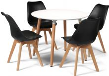 Toulouse Dining Set  - 90cms Round White Table & 4 Black Chairs